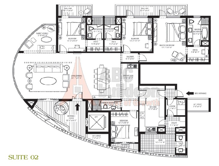 Emaar MGF Palm Drive Floor Plan 4 BHK + S.R + F.L + Utility – 3600 Sq. Ft.