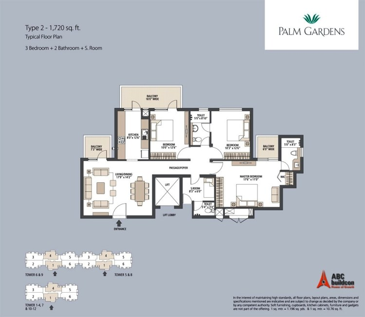 Emaar MGF Palm Gardens Floor Plan 3 BHK + S.R – 1720 Sq. Ft.