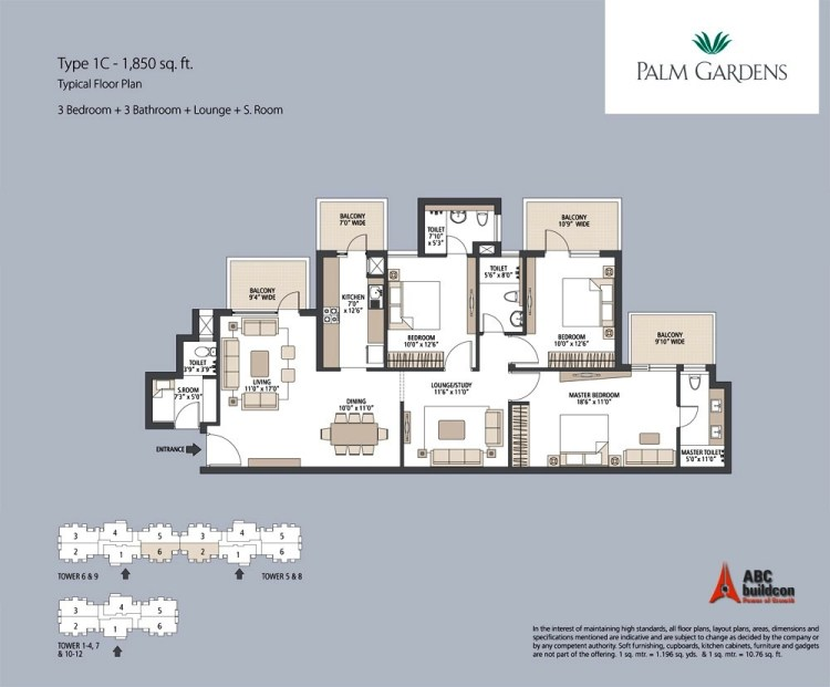 Emaar MGF Palm Gardens Floor Plan 3 BHK + S.R + F.L – 1850 Sq. Ft.
