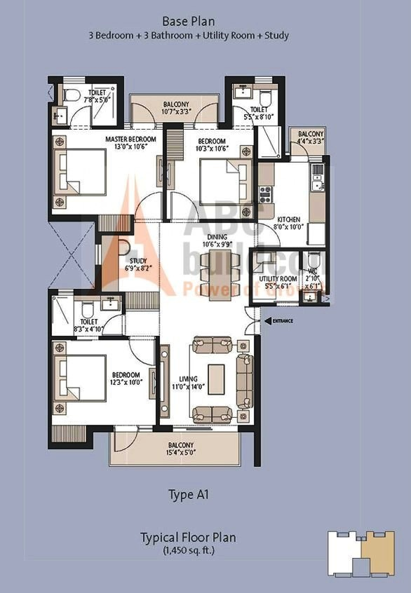 Emaar MGF Palm Hills Floor Plan 3 BHK + S.R + Study – 1450 Sq. Ft.