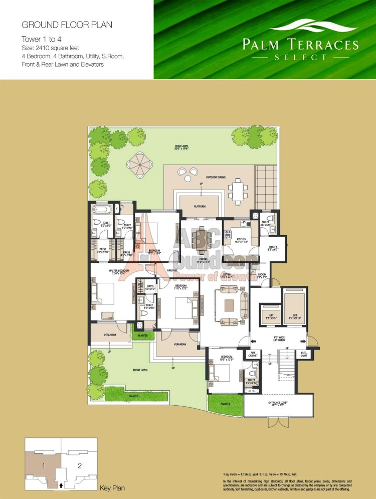 Emaar MGF Palm Terraces Select Floor Plan 4 BHK + S.R + Utility – 1765 Sq. Ft.