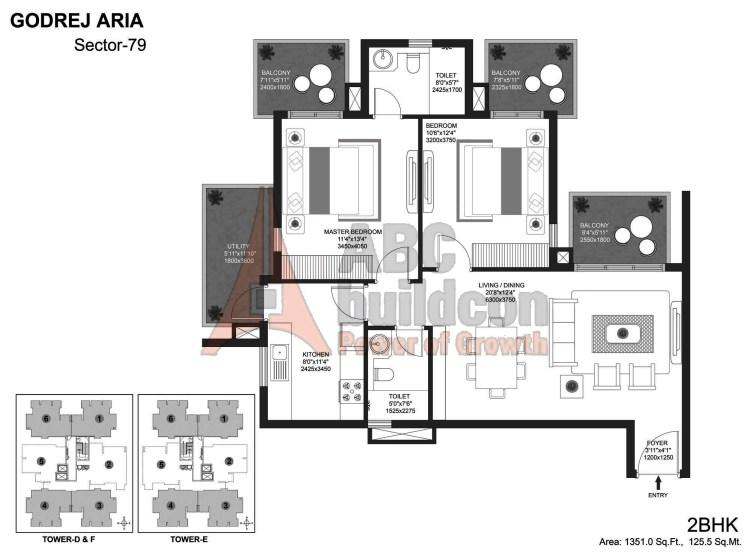 Godrej Aria Floor Plan 2 BHK – 1351 Sq. Ft.