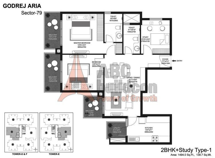 Godrej Aria Floor Plan 2 BHK + Study – 1494 Sq. Ft.
