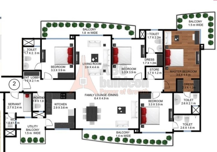 Godrej Frontier Floor Plan 4 BHK + S.R + Store – 3163 Sq. Ft.