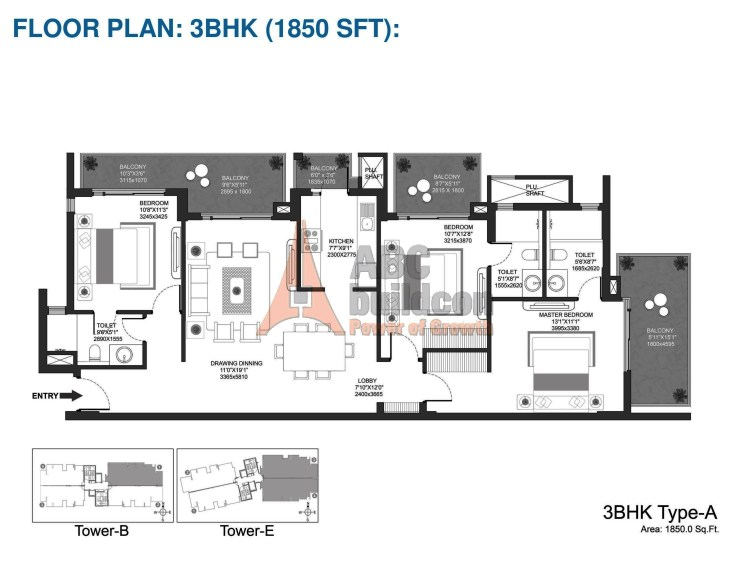 Godrej Oasis Floor Plan 3 BHK – 1850 Sq. Ft.