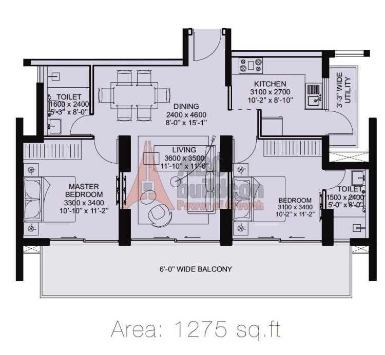 ILD Arete Floor Plan 2 BHK + Utility – 1275 Sq. Ft.