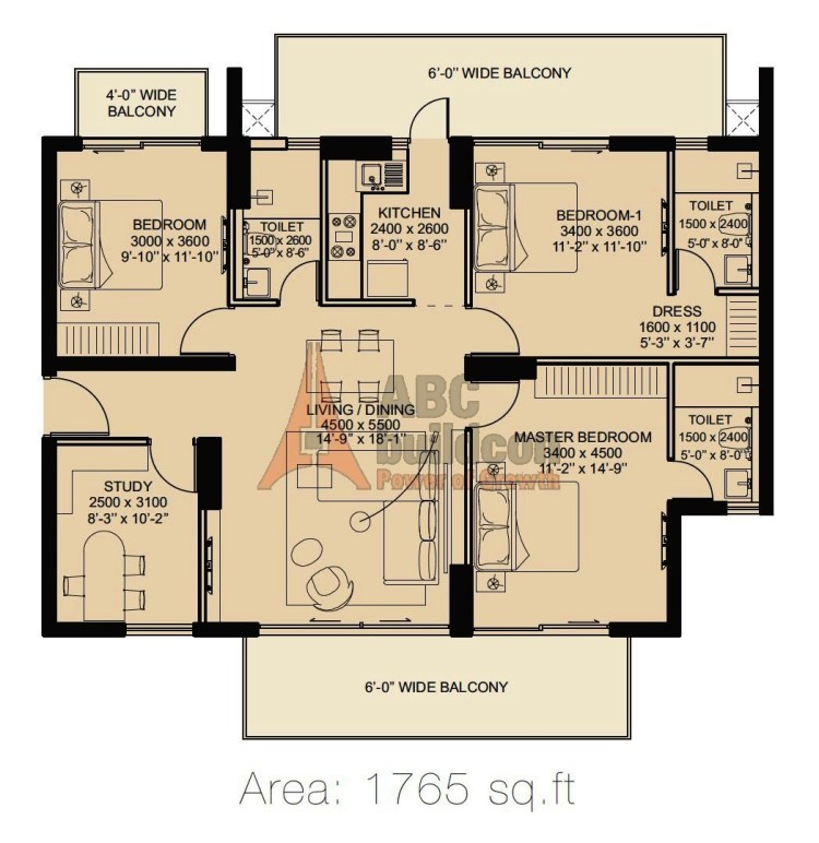 ILD Arete Floor Plan 3 BHK + Utility – 1765 Sq. Ft.