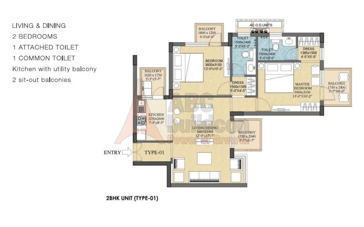 Ramprastha Rise Floor Plan 2 BHK – 1280 Sq. Ft.