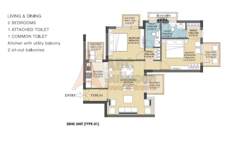 Ramprastha Rise Floor Plan 2 BHK – 1280 Sq. Ft.