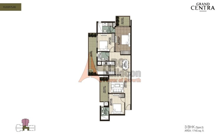 ILD Grand Centra Floor Plan 3 BHK – 1745 Sq. Ft. (Type - 2).