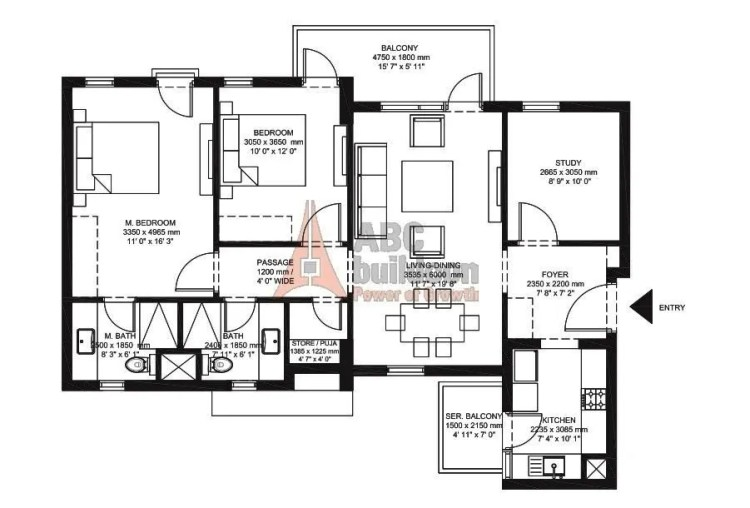 IREO Corridors Floor Plan 2 BHK + Store + Study – 1484 Sq. Ft.