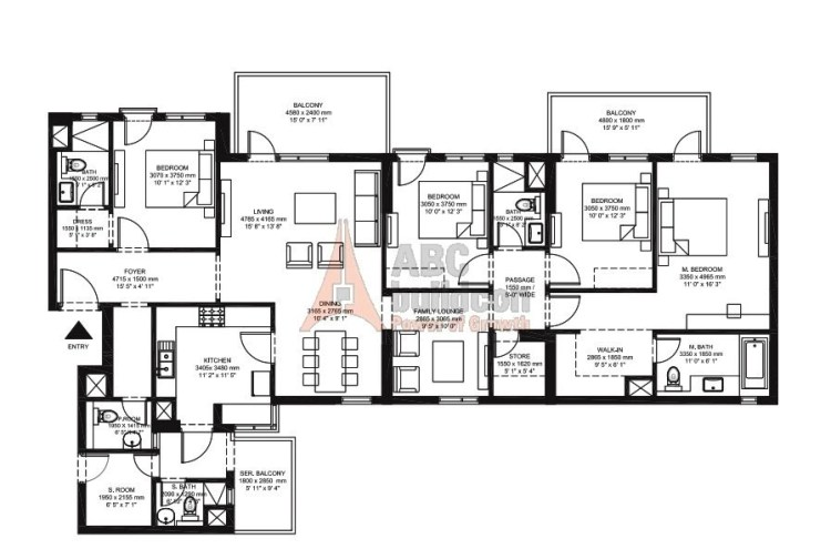 IREO Corridors Floor Plan 4 BHK + F.L + S.R + Store – 2740 Sq. Ft.