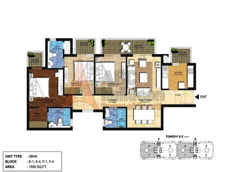 Indiabulls Centrum Park Floor Plan 3 BHK – 1550 Sq. Ft.