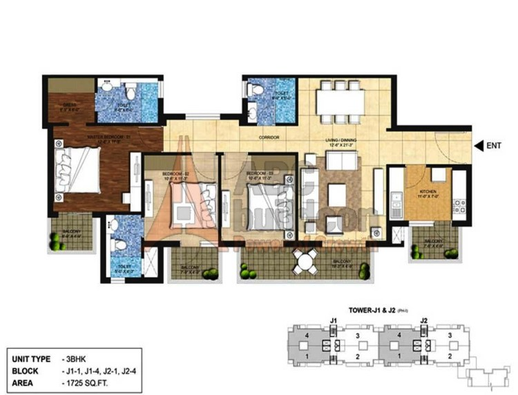 Indiabulls Centrum Park Floor Plan 3 BHK – 1725 Sq. Ft.