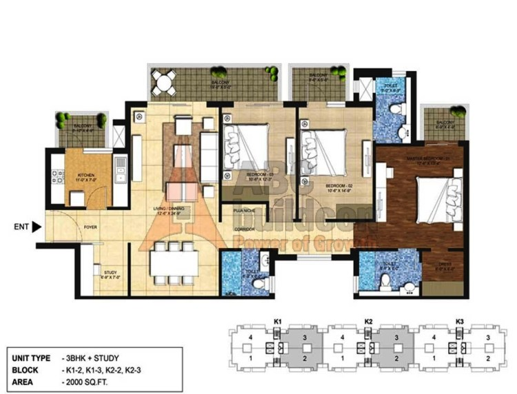 Indiabulls Centrum Park Floor Plan 3 BHK + Study – 2000 Sq. Ft.