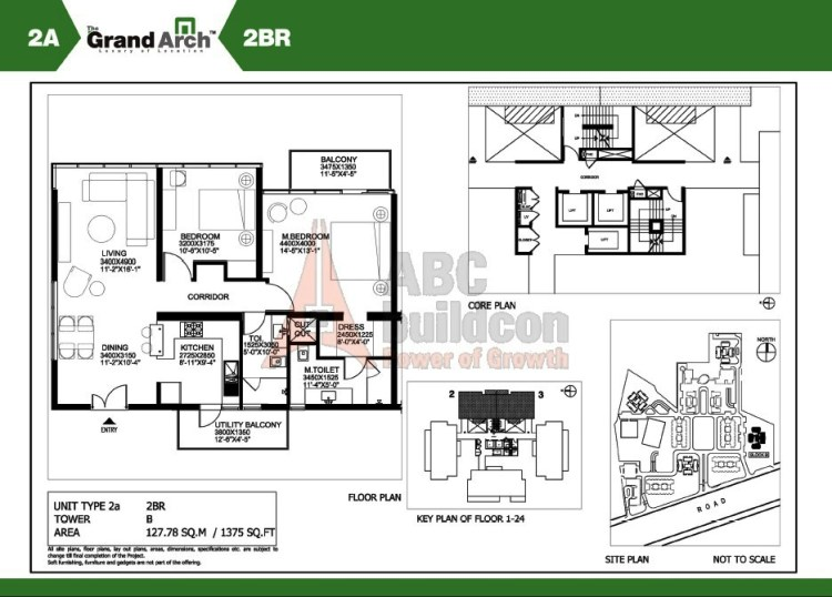 Ireo Grand Arch Floor Plan 2 BHK – 1375 Sq. Ft.