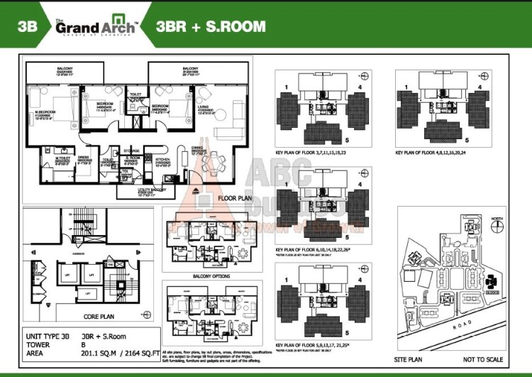Ireo Grand Arch Floor Plan 3 BHK + S.R – 2164 Sq. Ft.