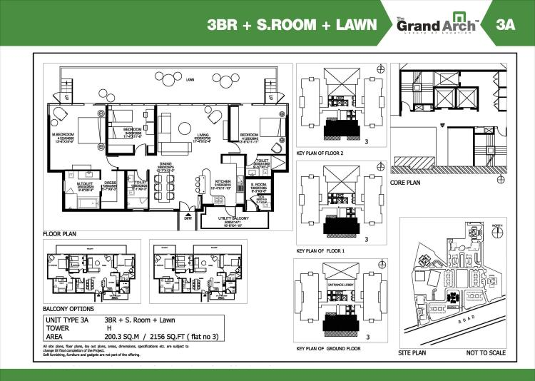 Ireo Grand Arch Floor Plan 3 BHK + S.R + Lawn – 2156 Sq. Ft.