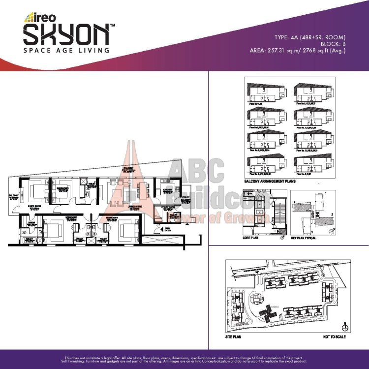 Ireo Skyon Floor Plan 4 BHK + S.R – 2768 Sq. Ft.