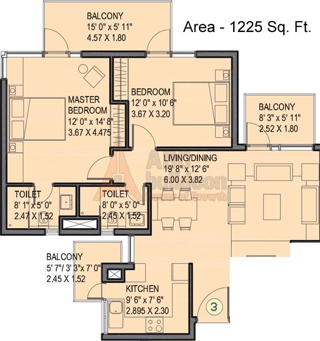 Ireo Uptown Floor Plan 2 BHK – 1225 Sq. Ft.