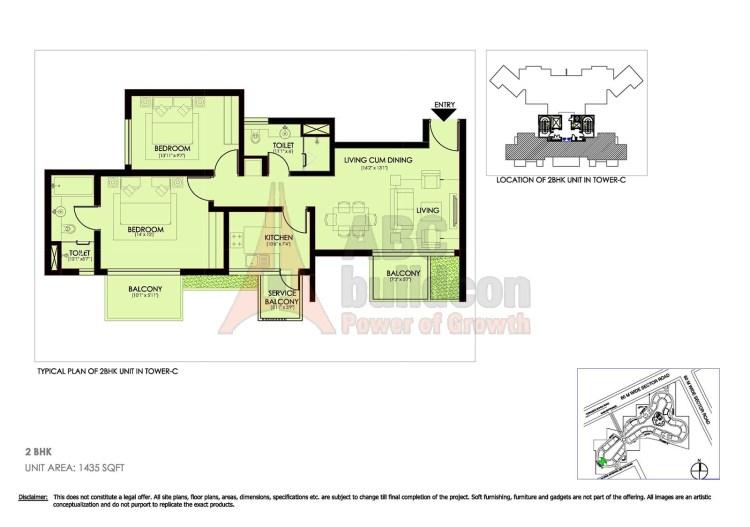Ireo Victory Valley Floor Plan 2 Bhk 1435 Sq Ft