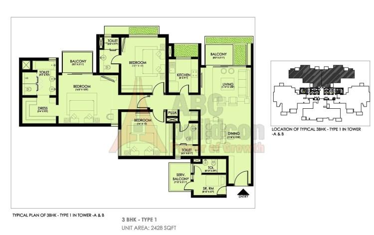 Ireo Victory Valley Floor Plan 3 BHK + S.R + Pooja Room – 2428 Sq. Ft.