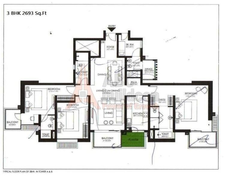 Ireo Victory Valley Floor Plan 3 BHK + S.R + Pooja Room – 2693 Sq. Ft.