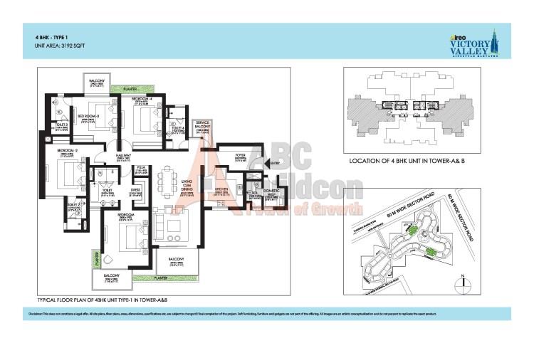 Ireo Victory Valley Floor Plan 4 BHK + S.R + Pooja Room – 3192 Sq. Ft.