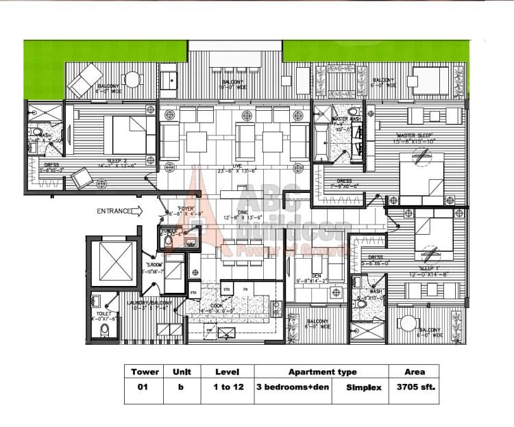 M3M Golf Estate Floor Plan 3 BHK + S.R + F.L – 3705 Sq. Ft.