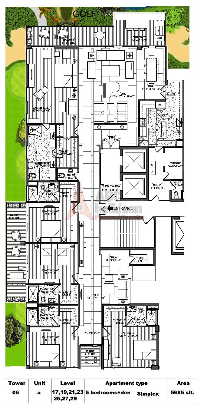 M3M Golf Estate Floor Plan 5 BHK + S.R + F.L + Store + Pooja Room – 5685 Sq. Ft.