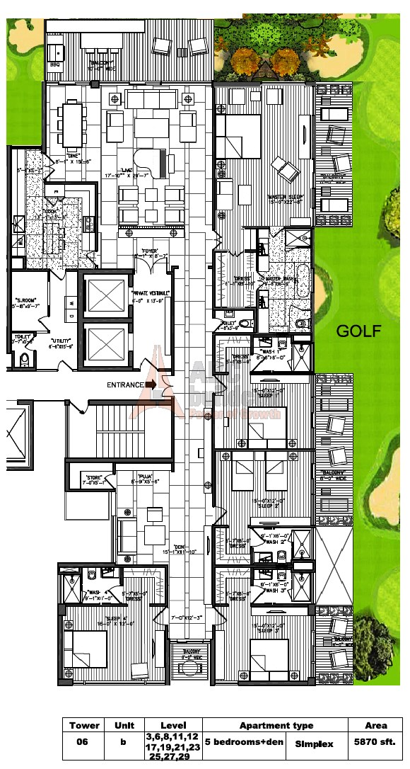M3M Golf Estate Floor Plan 5 BHK + S.R + F.L + Store + Pooja Room – 5870 Sq. Ft.