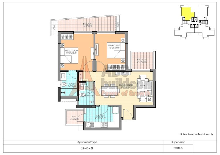 M3M Marina Floor Plan 2 BHK – 1260 Sq. Ft.