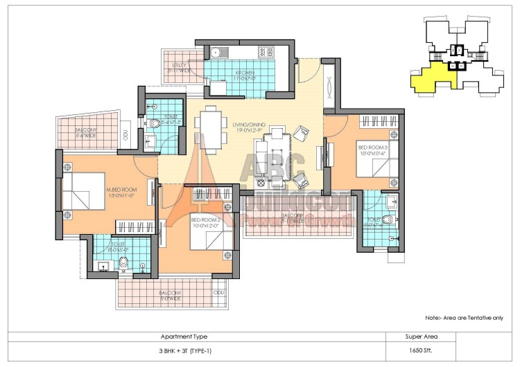 M3M Marina Floor Plan 3 BHK – 1650 Sq. Ft.