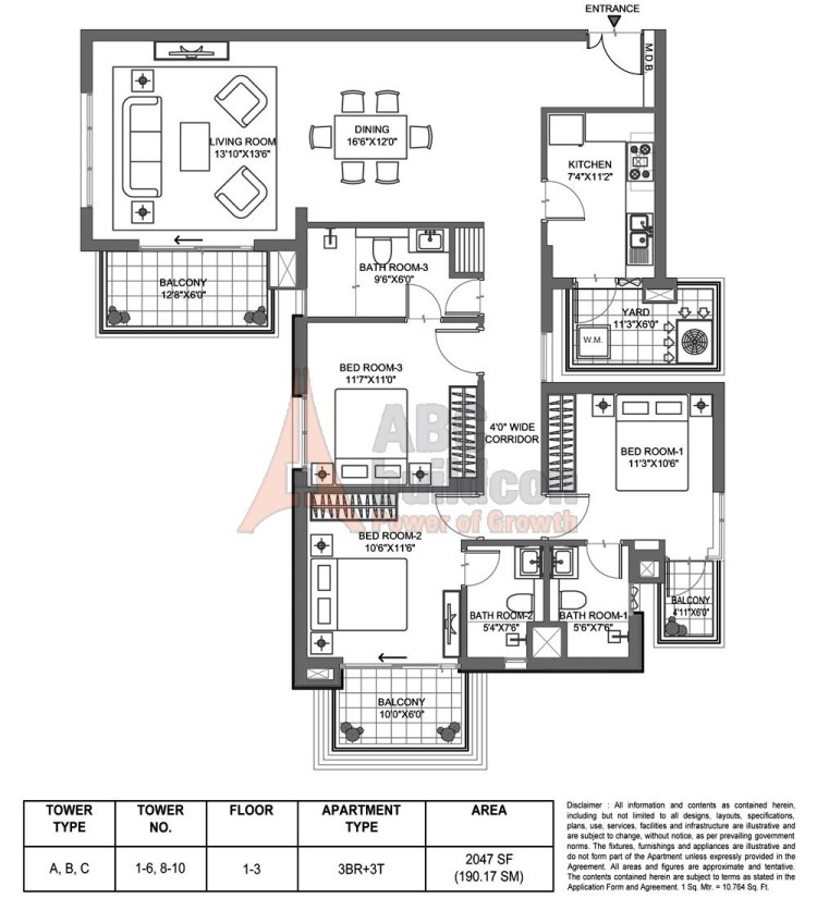 M3M Merlin Floor Plan 3 BHK – 2047 Sq. Ft.