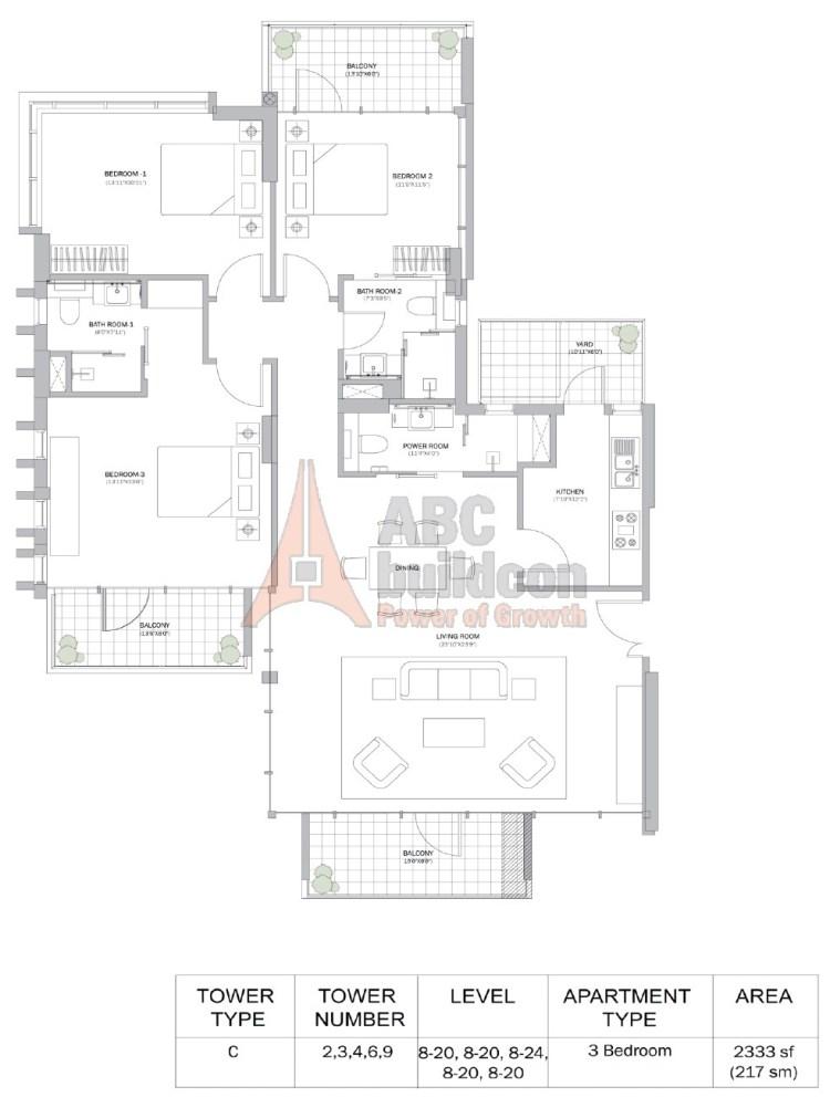 M3M Merlin Floor Plan 3 BHK – 2333 Sq. Ft.