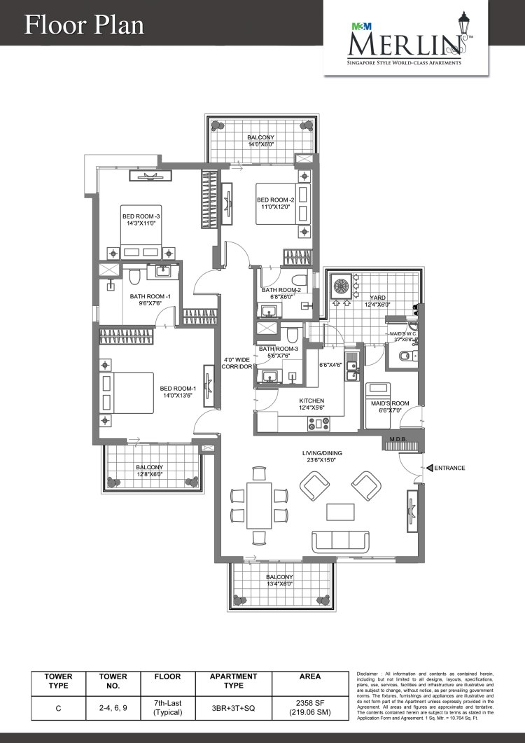 M3M Merlin Floor Plan 3 BHK – 2358 Sq. Ft.