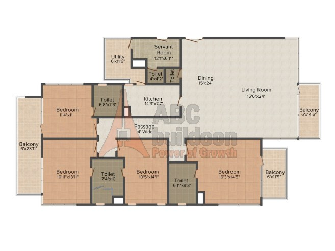 M3M Merlin Floor Plan 4 BHK + S.R – 3280 Sq. Ft.