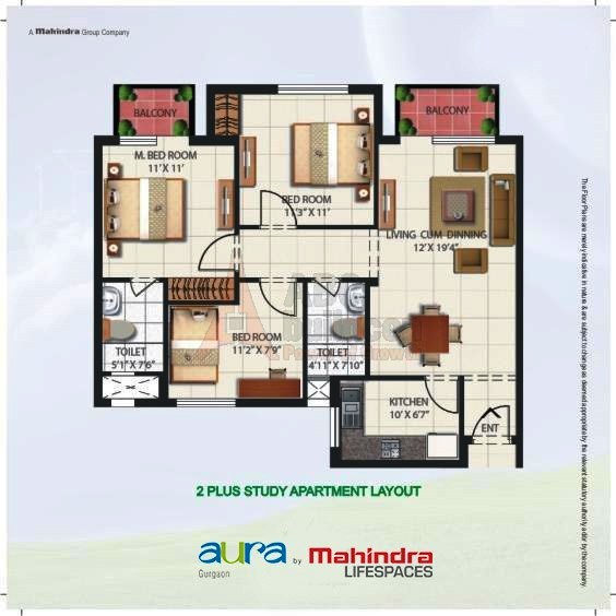 Mahindra Aura Floor Plan 2 BHK + Study – 1275 Sq. Ft.