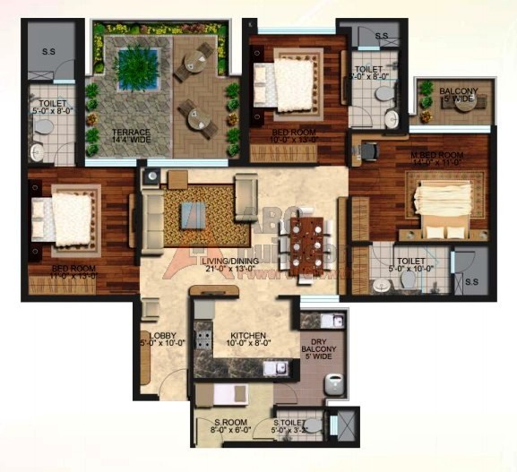 Mapsko Casa Bella Floor Plan 3 BHK + S.R – 1960 Sq. Ft.