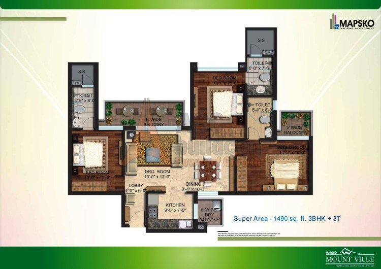Mapsko Mount Ville Floor Plan 3 BHK – 1490 Sq. Ft.