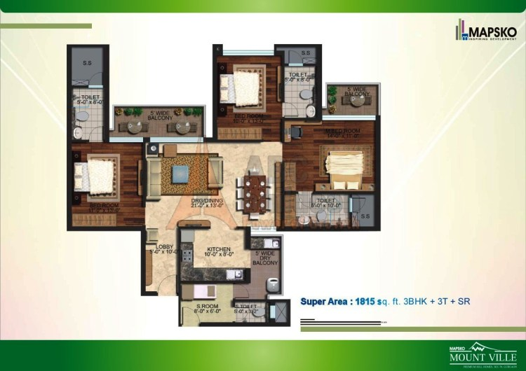 Mapsko Mount Ville Floor Plan 3 BHK + S.R – 1815 Sq. Ft.