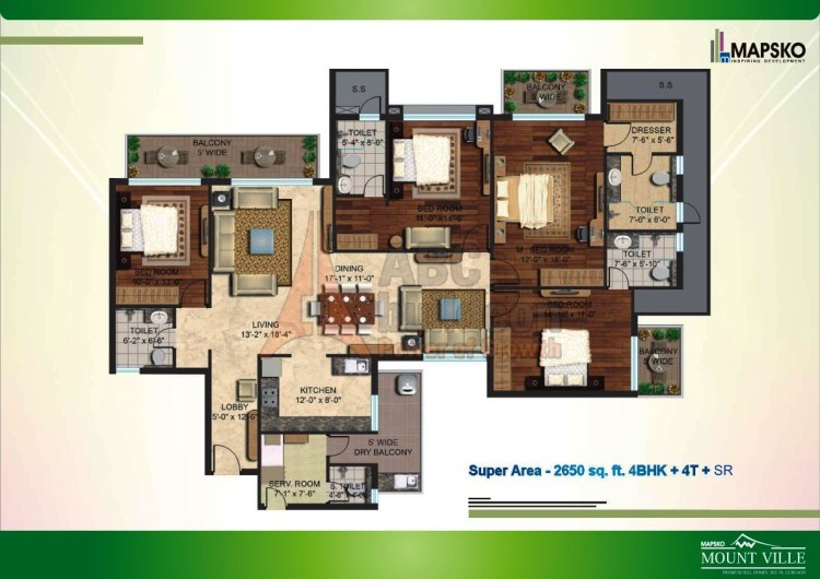 Mapsko Mount Ville Floor Plan 4 BHK + S.R – 2650 Sq. Ft.