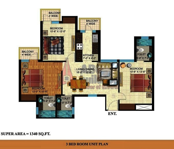 Mapsko Paradise Floor Plan 3 BHK + Store – 1340 Sq. Ft.