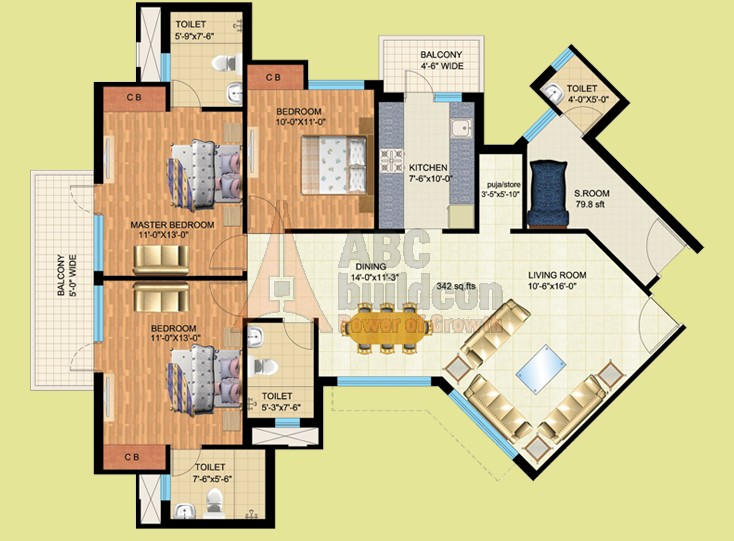 Mapsko Royale Ville Floor Plan 3 BHK + S.R + Store – 1790 Sq. Ft.