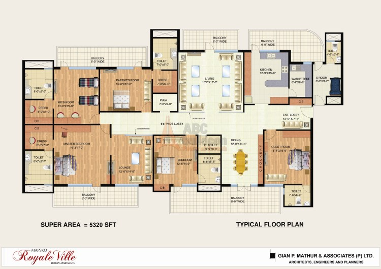 Mapsko Royale Ville Floor Plan 5 BHK + SR + F.L + Pooja Room + Store – 5320 Sq. Ft.