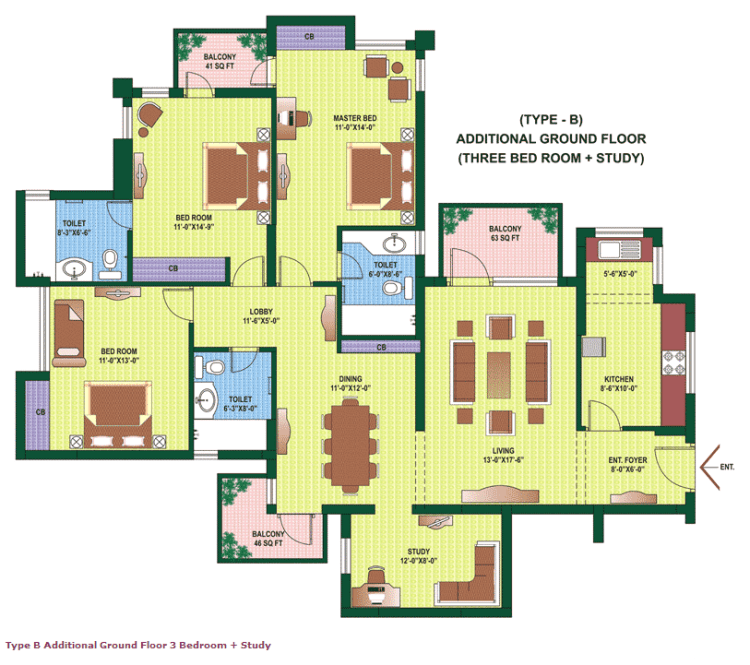 Orchid Petals Floor Plan 3 BHK + Study – 2061 Sq. Ft.