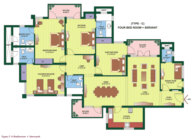 Orchid Petals Floor Plan 4 BHK + S.R– 2562 Sq. Ft.