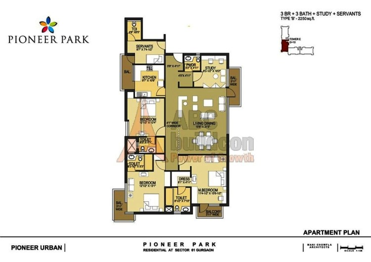 Pioneer Park Floor Plan 3 BHK + S.R + Study – 2250 Sq. Ft.