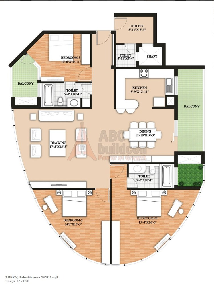 Raheja Revanta Floor Plan 3 BHK + Utility – 2457 Sq. Ft.