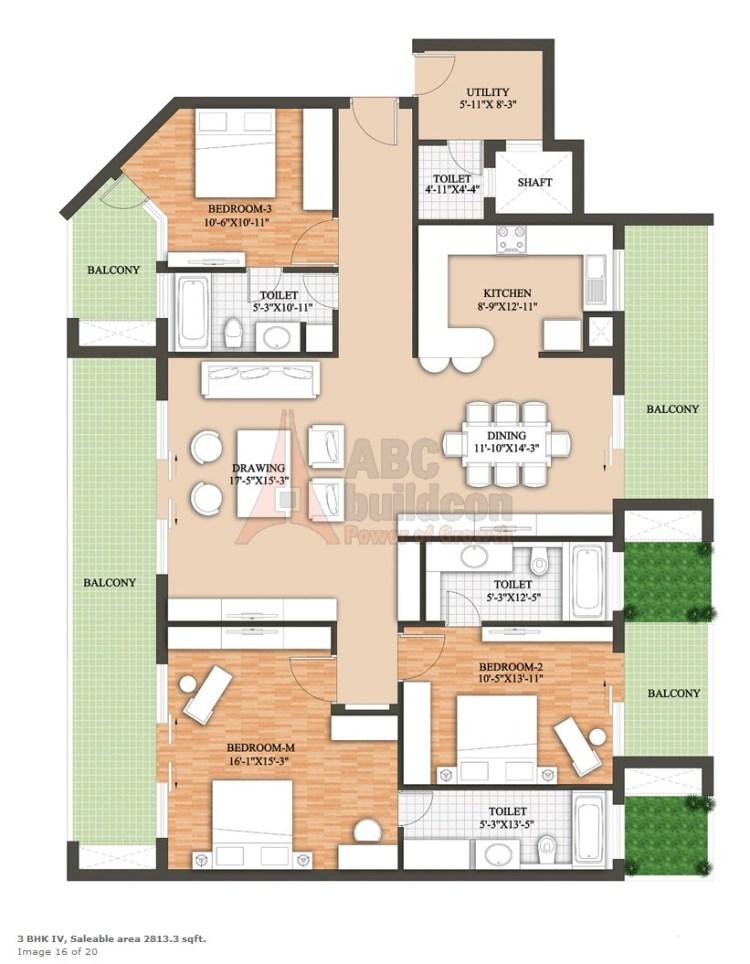 Raheja Revanta Floor Plan 3 BHK + Utility – 2813 Sq. Ft.